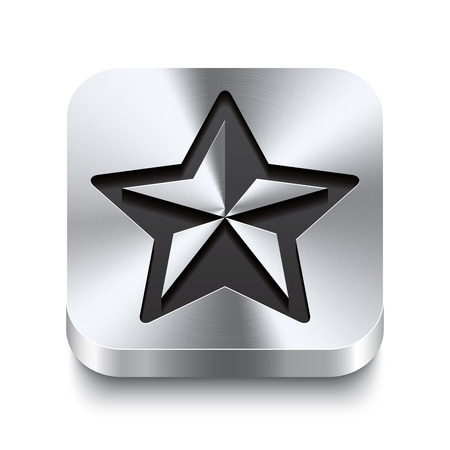 Realistic 3d vector illustration of a square metal button with a christmas star icon  This brushed steel button is the perfect switch for navigation in any user interface  Vector