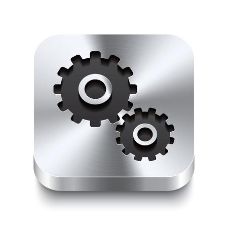 3D réalistes illustration vectorielle d'un bouton en métal carré avec une icône d'engrenage Ce bouton en acier brossé est le commutateur idéal pour la navigation dans une interface utilisateur Vecteurs