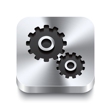 aluminio: Realista 3d ilustraci�n vectorial de un bot�n de metal cuadrada con un icono de engranaje Este bot�n de acero cepillado es el cambio perfecto para la navegaci�n en cualquier interfaz de usuario Vectores