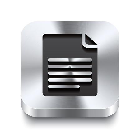 a4 borders: Realista 3d ilustraci�n vectorial de un bot�n de metal cuadrada con un doblez de p�gina icon Este bot�n de acero cepillado es el cambio perfecto para la navegaci�n en cualquier interfaz de usuario Vectores