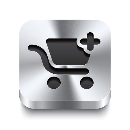 acier bross�?: 3D r�alistes illustration vectorielle d'un bouton en m�tal carr� avec un panier ajouter ic�ne Ce bouton en acier bross� est le commutateur id�al pour la navigation dans une interface utilisateur