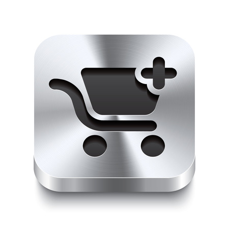 Realistic 3d vector illustration of a square metal button with a shopping cart add icon  This brushed steel button is the perfect switch for navigation in any user interface  Vector