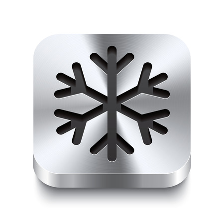 Realistic 3d vector illustration of a square metal button with a snowflake icon  This brushed steel button is the perfect switch for navigation in any user interface  Vector