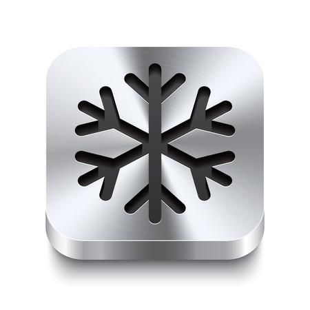 solid figure: Realistico 3D illustrazione vettoriale di un pulsante metallico quadrato con l'icona di un fiocco di neve Questo pulsante in acciaio spazzolato è lo switch ideale per la navigazione in qualsiasi interfaccia utente Vettoriali