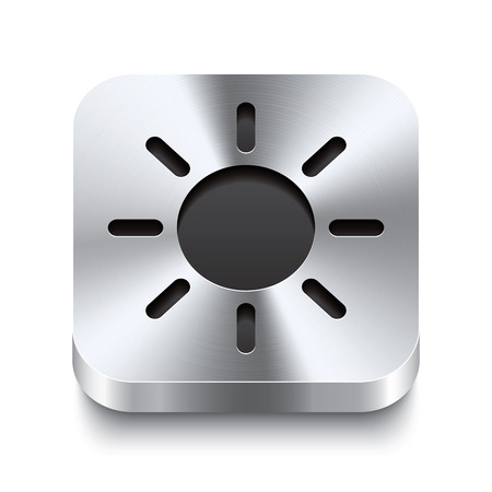 Realistic 3d vector illustration of a square metal button with a sun icon  This brushed steel button is the perfect switch for navigation in any user interface