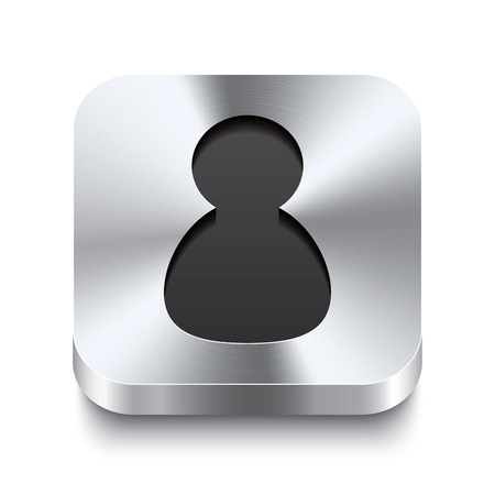 Realistic 3d vector illustration of a square metal button with a user icon  This brushed steel button is the perfect switch for navigation in any user interface