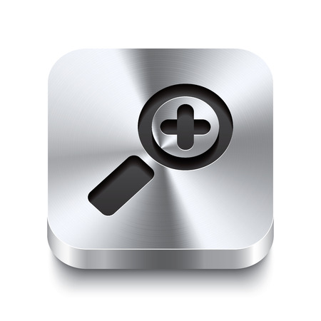 zoom in: Realista 3d ilustraci�n vectorial de un bot�n de metal cuadrada con un icono de acercar este bot�n de acero cepillado es el cambio perfecto para la navegaci�n en cualquier interfaz de usuario