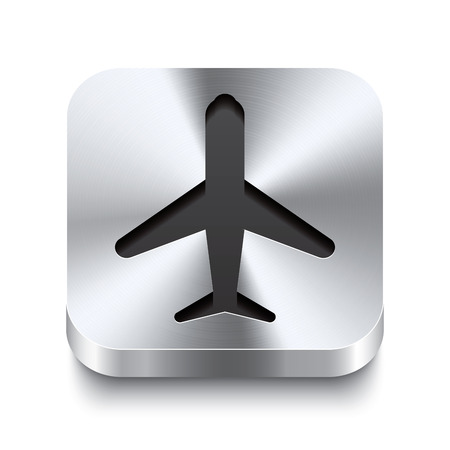 Realistic 3d vector illustration of a square metal button with a airplane icon  This brushed steel button is the perfect switch for navigation in any user interface