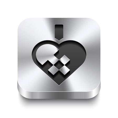 Realistic 3d vector illustration of a square metal button with a braided christmas heart icon  This brushed steel button is the perfect switch for navigation in any user interface  Vector
