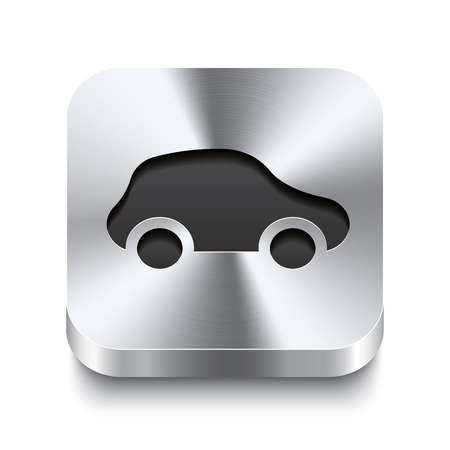 Realistic 3d vector illustration of a square metal button with a car icon  This brushed steel button is the perfect switch for navigation in any user interface  Vector