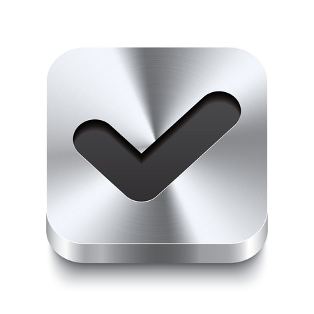 Realistic 3d vector illustration of a square metal button with a checkmark icon  This brushed steel button is the perfect switch for navigation in any user interface  Vector