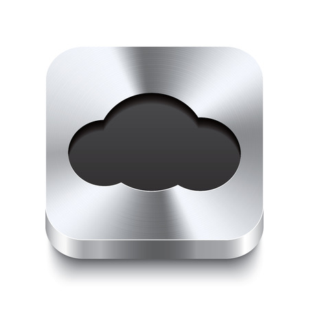 Realistic 3d vector illustration of a square metal button with a cloud icon  This brushed steel button is the perfect switch for navigation in any user interface  Illustration