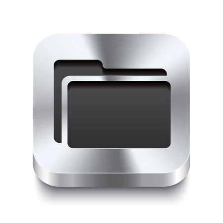 Realistic 3d vector illustration of a square metal button with a folder icon  This brushed steel button is the perfect switch for navigation in any user interface  Vector