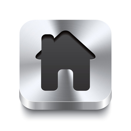 luxury condo: Realistic 3d vector illustration of a square metal button with a house icon  This brushed steel button is the perfect switch for navigation in any user interface