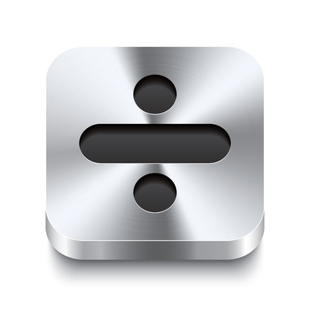 sleek: Realistic 3d vector illustration of a square metal button with a minus icon  This brushed steel button is the perfect switch for navigation in any user interface