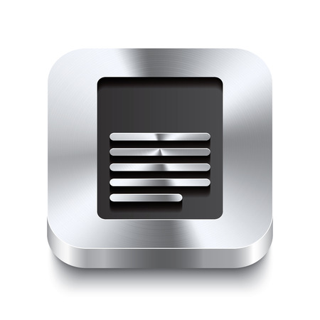 chromium sheet: Realistic 3d vector illustration of a square metal button with a page icon  This brushed steel button is the perfect switch for navigation in any user interface  Illustration