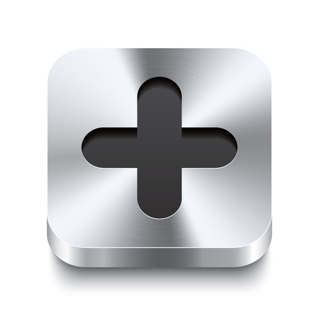 plus icon: Realistic 3d vector illustration of a square metal button with a plus icon  This brushed steel button is the perfect switch for navigation in any user interface
