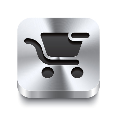 Realistic 3d vector illustration of a square metal button with a shopping cart remove icon  This brushed steel button is the perfect switch for navigation in any user interface