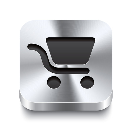 e retailers: Realistic 3d vector illustration of a square metal button with a shopping cart icon  This brushed steel button is the perfect switch for navigation in any user interface