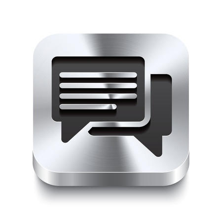 sleek: Realistic 3d vector illustration of a square metal button with a speech bubbles icon  This brushed steel button is the perfect switch for navigation in any user interface