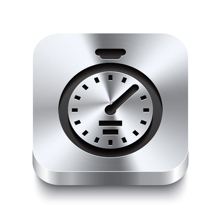 precisely: Realistic 3d vector illustration of a square metal button with a stopwatch icon  This brushed steel button is the perfect switch for navigation in any user interface