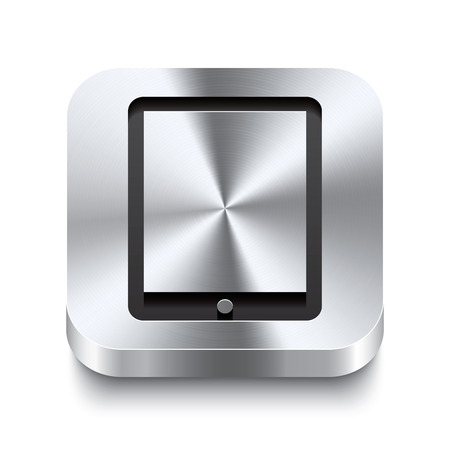Realistic 3d vector illustration of a square metal button with a tablet icon  This brushed steel button is the perfect switch for navigation in any user interface