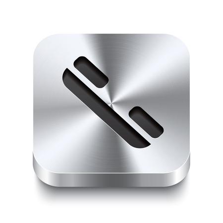Realistische 3D-vector illustratie van een vierkante metalen knop met een telefoonhoorn pictogram Deze geborsteld staal knop is de perfecte switch voor navigatie in een gebruikersinterface