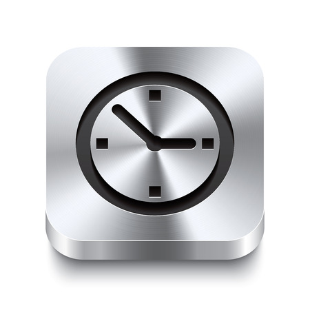 Realistic 3d vector illustration of a square metal button with a watch icon  This brushed steel button is the perfect switch for navigation in any user interface  Vector