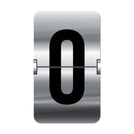 departure: Silver flipboard letter 0 from a series of departure board letters. Illustration