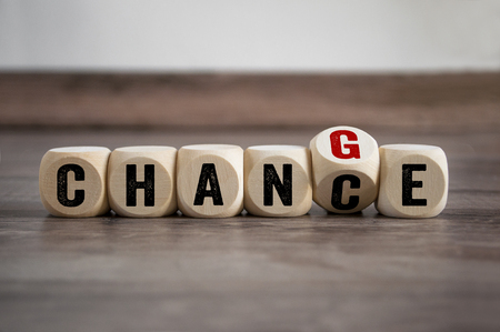 Dice with chance change time for a change Imagens - 111298622