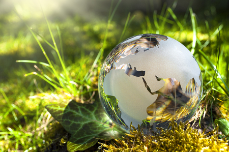 World globe made of glass, earth with grass and sun, nature protection, environmental protection, climate protection Stockfoto