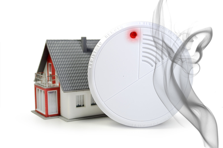fire detector with alert and smoke Stock Photo
