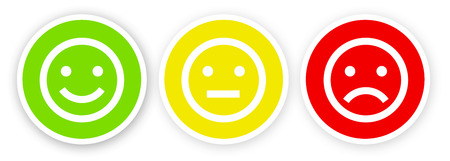 3 smileys, happy, satisfied, dissatisfied and unhappy Stock Photo