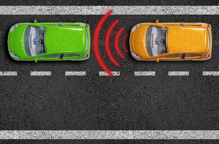 Asphalt with cars on a road with distance sensor and emergence break assistant