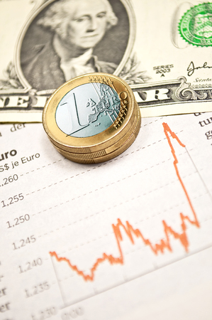Exchange rate dollar versus euro with statistic Stock Photo