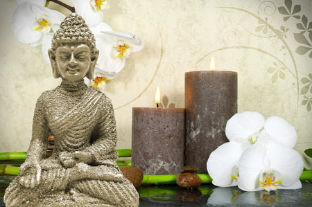 Wellness Spa with flowers, water and candles