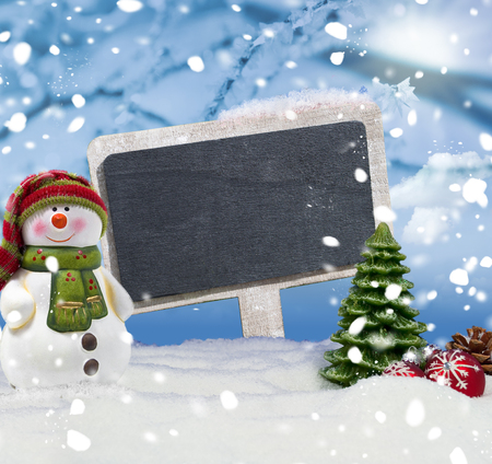 Fir trees and chalkboard snow and snowflakes Merry Christmas