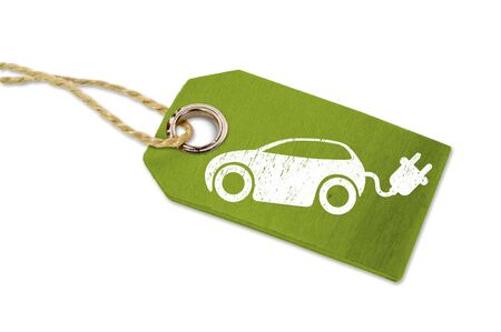 Green wooden label with e car