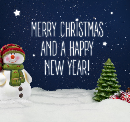 Fir trees with snow and snowflakes Merry Christmas