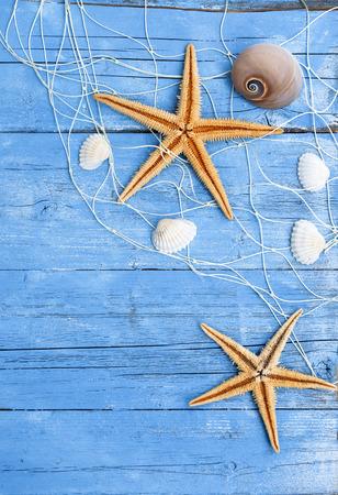 Maritime Dekoration mit Muscheln, Seestern, Segelschiff, Fischernetz auf blauem Treibholz