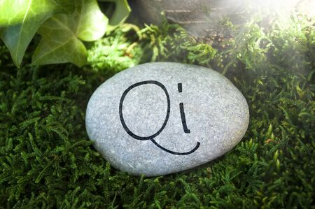Gray stone with moss in the forest with massage, qi, reiki, relax
