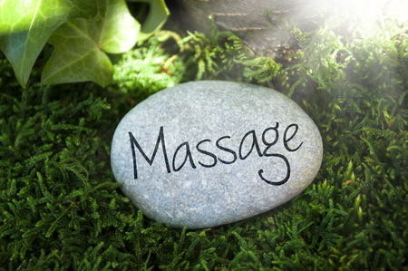 Gray stone with moss in the forest with massage, qi, reiki, relax Stok Fotoğraf