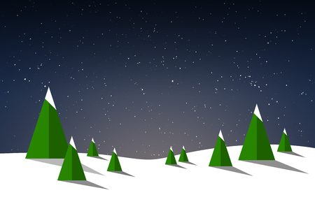 Wintry and snowy illustration background with fir trees and night sky