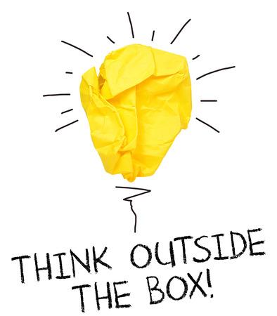 Inspiration concept crumpled paper light bulb metaphor for good idea Banco de Imagens