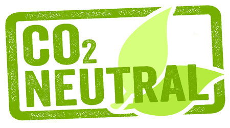 Illustration of a stamp with CO2 carbon neutral