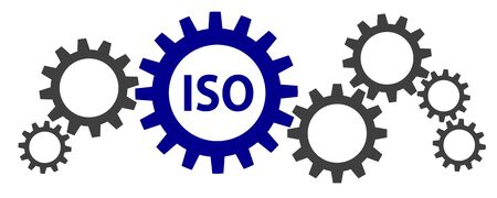 Illustration of a few gears with ISO certified Stock fotó