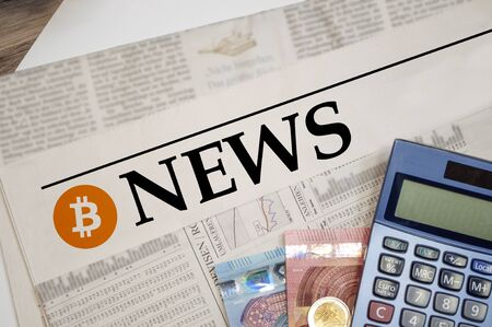 Financial Newspaper with B for Bitcoin