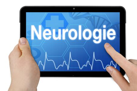 Tablet computer with the german word for neurology - Neurology