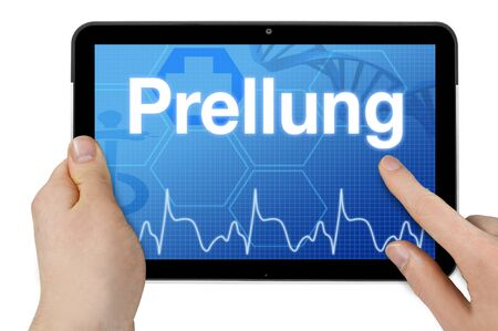 Tablet computer with the german word for bruise - Prellung Stok Fotoğraf