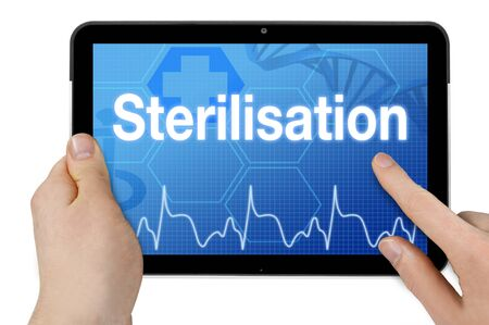 Tablet computer with the german word for sterilization - Sterilization